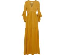 Silk Crepe De Chine Maxi Dress Saffron