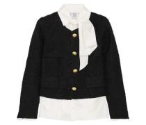 Layered Satin-jacquard And Metallic Bouclé-tweed Jacket Black