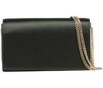 Leather-paneled satin shoulder bag