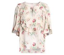 Ruffled printed silk-crepe blouse