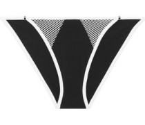 Mesh-trimmed stretch-jersey low-rise briefs