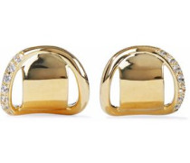 Gold-tone sterling silver crystal earring