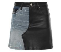Paneled Leather And Distressed Denim Mini Skirt Black