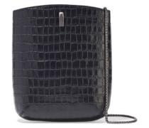 Woman Key Croc-effect Leather Bucket Bag Black