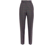 Woman Prince Of Wales Checked Wool-blend Straight-leg Pants Orange