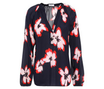 Woman Floral-print Silk-crepe Blouse Midnight Blue
