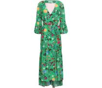 Wrap-effect Printed Silk Crepe De Chine Midi Dress Jade