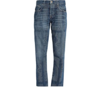 Printed Mid-rise Straight-leg Jeans Mid Denim  4