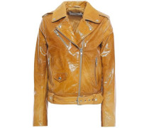 Woman Polly Cracked Patent-leather Biker Jacket Camel
