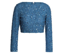 Cropped sequined knitted top