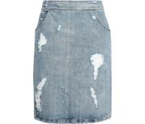 Distressed Denim Pencil Skirt Light Denim
