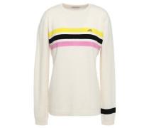 Woman Embroidered Striped Cashmere Sweater Cream