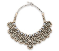 Woman Silver-tone, Crystal, Faux Pearl And Satin Necklace Gunmetal