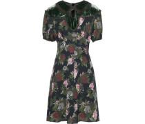 Cutout velvet-paneled floral-print silk dress