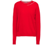 Woman Embroidered Cashmere Sweater Red