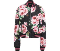 Quilted Floral-print Shell Bomber Jacket Black