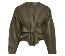 Harriet Tie-front Leather Top Army Green Size 16