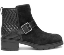 Paneled suede and quilted leather ankle boots
