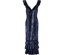 Tiered Sequined Mesh Gown Royal Blue