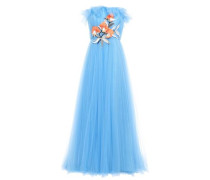Woman Strapless Ruffle-trimmed Gathered Embellished Tulle Gown Azure
