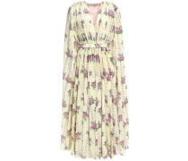 Leona Cape-back Floral-print Silk Crepe De Chine Midi Dress Cream