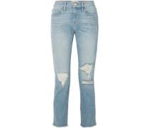 Cropped Faded Boyfriend Jeans Mid Denim  3