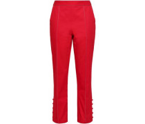 Button-detailed Cotton-twill Slim-leg Pants Red