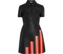 Striped Leather Mini Dress Black