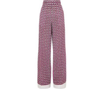 Woman Printed Silk Crepe De Chine Wide-leg Pants Pink