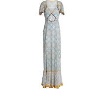 Pompom-embellished Printed Silk-crepe Maxi Dress Multicolor