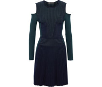 Cold-shoulder ribbed two-tone wool-blend dress