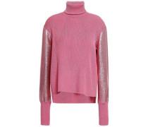Lamé-paneled Ribbed-knit Turtleneck Top Pink
