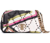 Printed quilted twill shoulder bag