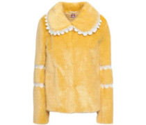 Lace-trimmed Faux Fur Coat Yellow Size 12