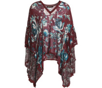 Layered lace-trimmed printed silk-georgette top