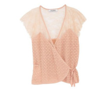 Paneled stretch-lace wrap top