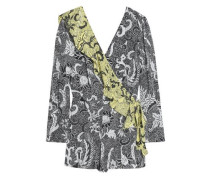 Wrap-effect ruffle-trimmed floral-print silk playsuit