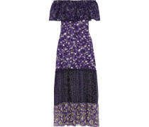 Off-the-shoulder Printed Chiffon, Georgette And Fil Coupé Silk Maxi Dress Purple