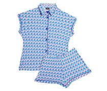 Printed modal-blend jersey pajama set
