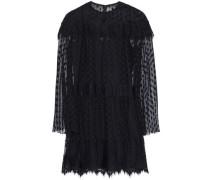 Layered lace-trimmed point d'esprit mini dress
