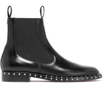 Studded Glossed-leather Ankle Boots Black