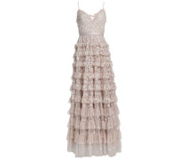 Marie Tiered Embellished Tulle Gown Taupe Size 12