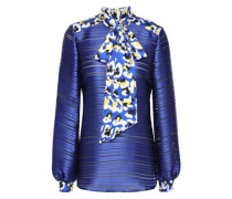 Woman Vedder Pussy-bow Printed  Burnout Satin Blouse Royal Blue