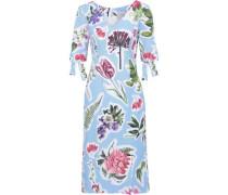 Floral-print Cotton-blend Dress Light Blue