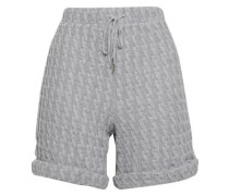 Cable-knit Cotton-blend Shorts Light Gray