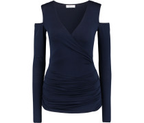 Cold-shoulder Ruched Wrap-effect Jersey Top Mitternachtsblau