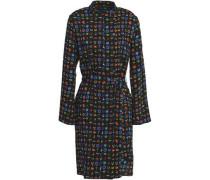 Belted Printed Wool-twill Dress Black
