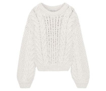 Blake Faux Pearl-embellished Cable-knit Cotton-blend Sweater Cream