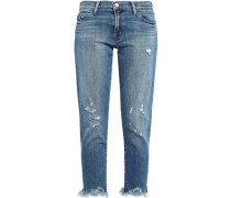 Cropped distressed low-rise slim-leg jeans