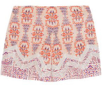 Crochet-trimmed Printed Silk Crepe De Chine Shorts Blush